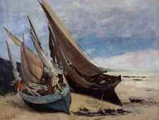 Courbet Gustave Fishing Boats On The Deauville Beach A4 Print