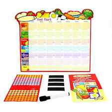Kids Healthy Eating Dry Erase Reward Chart w/Parents Guide, Pen, Smiley Stickers