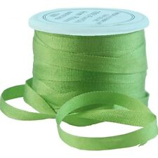 11 YDS (10 M) EMBROIDERY SILK RIBBON 100% SILK 4MM - LIME GREEN - by THREADART