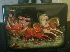 Russian Fedoskino Lacquer Box High Quality Detailed Horse Drawn Sled, Rare