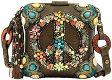 Mary Frances Handbag Peace Out Beaded Jeweled Turquoise Hippie 60's Shoulder Bag