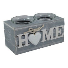Provence Grey Double Tealight Holder HOME- Shabby Chic – Wooden tea light candle