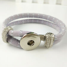 DIY Handmade Leather Bracelets Drill Fit For Noosa Snaps Chunk Charm Button V-42