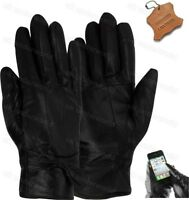 Ladies Touchscreen Real Leather Lined Gloves With Bow Womens Smart Driving