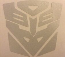 White Reflective Transformers Decepticon Vinyl Sticker Helmet Motorcycle 17-26