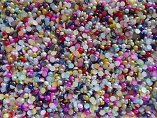 300pcs x 3D Nail Art Mixed Colours '4mm Round Pearls' Flat Back Gems Craft Mix
