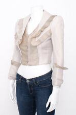 ALEXANDER MCQUEEN Pale Beige Woven Ruffle Pleated Victorian Blazer Jacket 2/38/S