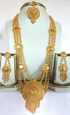 22K Gold Plated 11'' Long Necklace Earrings Tikka Wedding Rani Haar A +++ Set ,