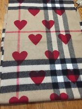 Burberry Classic Cashmere Scarf in Check and Hearts - Parade Red - $650 +