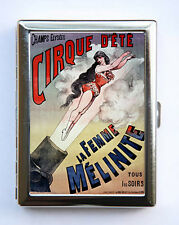 Vintage French Circus Poster Cigarette Case Wallet human cannonball sideshow