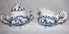 Handpainted Dutch Blue Delft SUGAR and CREAMER with Windmill Scene (Holland)