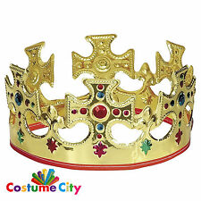 Gold Plastic Kings Queens Crown Royalty Fancy Dress Party Costume Accessory