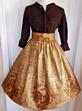 vintage 50s brown novelty rose 2 piece skirt sweater set batik polished cotton