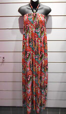 Maxi Dress Fits 1X 2X 3X Plus Red Green Peacock Wood Bead Smocked Long NWT DCL