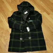 POLO RALPH LAUREN WOOL CASHMERE BLEND PLAID DUFFLE COAT / RETAIL $595
