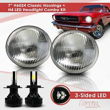 H6024 7 Round Sealed Beam Headlight Housing - H4 LED Conversion Kit (A)