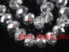 Precious 50pc Faceted Glass Crystal Rondelle Spacer Beads Jewelry Making 10x7mm