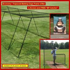 "70' Trapezoid Baseball Batting Cage Frame w/Net, L-Screen and FREE ""BP Catcher"""