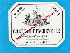 ST JULIEN 4E GCC VIEILLE ETIQUETTE CHATEAU BEYCHEVELLE 1933 73 CL RARE§06/02/17§