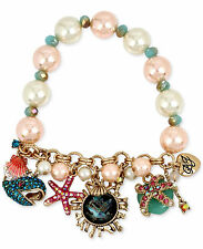 NWT Auth Betsey Johnson 'The Sea' Gold-Tone Critters Charm Faux Pearl Bracelet