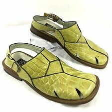 Men's Fennix Italy Genuine Alligator Croc Skin Green Sandals Sz 9