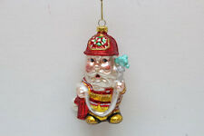 79-80094 Santa Claus Fireman Hydrant Hose Glass Christmas Ornament