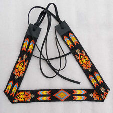 NATIVE AMERICAN STYLE BLACK FIRE COLORS SEED BEADS TURTLE BEADED  HATBAND H53/1