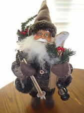 NEW RARE~SANTA CLAUS~GLASSES~CHRISTMAS TREE~WOODEN SKIS~OIL LAMP~FIGURINE DOLL