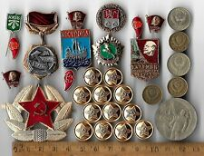 Rare Old COLD WAR Russian Civil Pin Coin Star Medal Army Russia Collection Lot