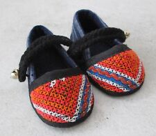 Really Cute! Akha Hill Tribe Cotton Baby Bell Shoes HANDMADE 3.5 inch