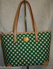 DOONEY AND BOURKE GINGHAM CHARLESTON SHOPPER GREEN/WHITE CANVAS BGING0592 GRVC