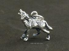 925 Sterling Silver HOWLING WOLF Charm 15mm animal totem Jewellery inc jump ring