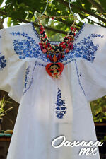 022 Womens Hand Embroidered Mexican White Blue Blouse Oaxaca Boho Hippie
