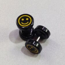 Smiley Face Black Acrylic - NO STRETCH FAKE- Ear Plugs Look10mm