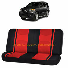 RED & BLACK POLY MESH 2PC SPLIT BENCH SEAT COVER for NISSAN ROGUE TITAN QUEST