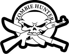 "ZOMBIE SKULL HUNTER Vinyl Decal Sticker-6"" Wide White Color"