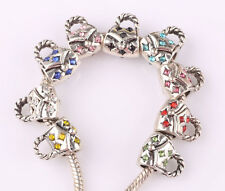 10pcs mix LAMPWORK CZ big hole spacer beads fit Charm European Bracelet #B562