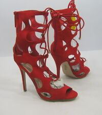 """RED 45""""Stiletto high HEEL open  toe lace up  sexy shoes  Size. 8.5"""