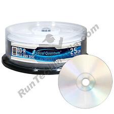 25 Optical Quantum 4x 25GB Blue Blu-ray BD-R Shiny Silver Blank Media Discs