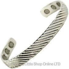 homme-femme Magnétique Chrome plaqué Cuivre Bracelet 6 Haut Force Aimants SOIE