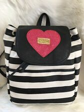 Betsey Johnson backpack bag Stripe black white pink Fuchsia glitter heart travel