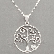 "TREE of LIFE Heart charm Pendant STERLING SILVER 925 & 18"" .925 chain Necklace"