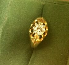 Mens Fine Vintage Art-Deco 9CT Yellow Gold 1ct Clear St Solitaire Ring Size M1/2