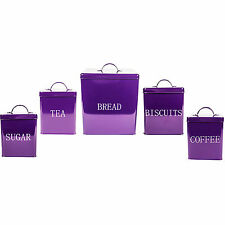 Purple Metal Enamel Tea Coffee Sugar Canister Bread Bin Biscuit Storage Tin Set