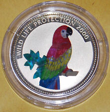 2000 Congo Large Silver Color Hologram Proof 10 fr Amazon Parrot