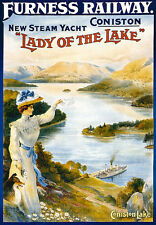 Coniston - Lady of the Lake Steam - Yacht Furness Travel A3 Art Poster Print