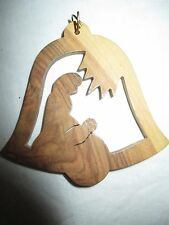 Wooden Handcrafted Ornament Mary & Jesus w/ Shining Star Inside a Bell