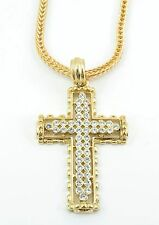 GOLD Plated Small Cross BLING HIP HOP PENDANT 24''NECKLACE