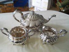 Finest Birks Regency Plate Melon 3 Piece Tea Set