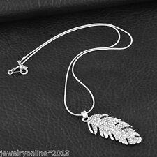 1 Silber Halskette Halsschmuck mit Strass Feder Anhänger Modeschmuck 47cm